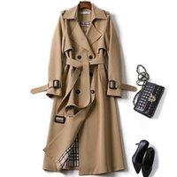 casaco de trincheira de cetim venda por atacado-Duas filas casacos Botão casaco Turndown Collar Women s Vestuário Outono Inverno 2019 Retro Vintage trench coats Mulher elegante para Belt