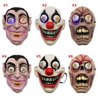 maskerade-make-up großhandel-Led Licht Halloween Horror Maske für Clown Vampir-Augen-Schablonen Cosplay Thema Make-up Leistung Masquerade Full Face Mask-Party