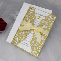 Elegant Gold Shimmer Gatefold Wedding Invitation with Champagne Ribbon 20+Color Printable Laser Cut Invitations for Quinceanera Engagement
