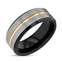 ingrosso anelli neri opachi-8mm Finitura opaca Argento spazzolato Bordo nero Anelli in tungsteno Cinturino per uomo con fascia in oro taglia 6-13