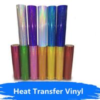 ko großhandel-18 Farben DIY Holographische Wärmeübertragung Film Schmücken T-shirts / Hüte Eisen auf Kleidung Schneiden für Muster / Größe Wärmepresse 20