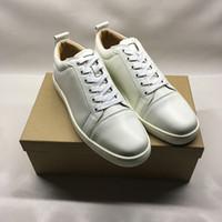 flats vestido sapato mulheres venda por atacado-Designer de sapatos de alta qualidade para homem mulheres fundo vermelho Júnior Spikes Plano sapatilhas sapatos de couro de moda paris genuíno com caixa