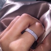 Wholesale triple wedding ring set for sale - Group buy Vecalon Hollywood Triple Pave Promise ring Sterling Silver Cz Engagement wedding band rings For women Party Finger Jewelry