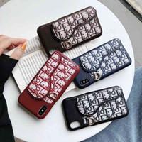 caso de couro smartphone venda por atacado-Slot para cartão de couro premium designer phone case para iphone x xs max xr 8 8 plus 7 7 mais 6 s de luxo smartphone casos de volta capa casca mole