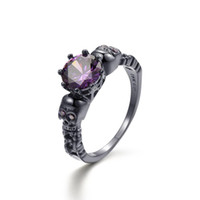 cristal morado negro al por mayor-Punk Skull Ring Big Round Purple Crystal Zircon Anillos para mujeres y hombres Vintage Black Ring Jewelry