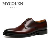 sapatos de vestido pontilhado inglaterra venda por atacado-MYCOLEN A Nova Listagem de Homens Se Vestem Sapatos Homens Inglaterra Sapatos De Couro Apontou Casamento Dedo Apontado Zapato Hombre