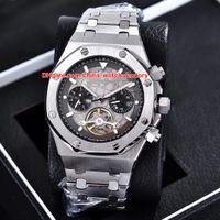 ver tourbillon automatico al por mayor-4 colores de lujo reloj de alta calidad 44mm Offbide Tourbillon relojes de pulsera de acero inoxidable Asia transparente mecánico automático para hombre relojes