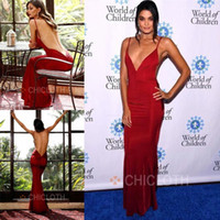 Wholesale gold evening dresses online - Cheap Dark Red Evening Dresses Formal Sexy Open Back Sheath Spaghetti Straps Women Occasion Celebrity Gowns Party Prom Wears BC1403