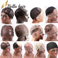 ingrosso parrucche di pizzo fatte-Berretti in pizzo professionale Bella Hair per realizzare parrucca di diversi tipi Colore del merletto Nero / Marrone / Biondo Taglia L / M / S