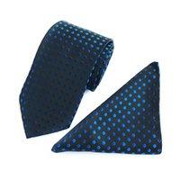 ingrosso cravatta di polka marrone-Cravatta classica a pois Cravatta bianca in seta con set di cravatta in seta per matrimonio