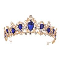 coronas del desfile de la vendimia al por mayor-Corona barroca Cristal Tiaras nupcial Corona Vintage Oro Accesorios para el cabello Boda Rhinestone Diadema Pageant Crowns