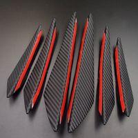 kohlefaser-auto stoßfänger großhandel-Schwarz Carbon Auto Styling Zubehör Frontstoßstange Lippe Gummi Fin Splitter Spoiler Canard Valence Aufkleber