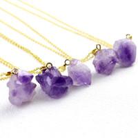 Wholesale purple quartz necklace resale online - Amethysts Necklaces For Women Female Choker Necklace Gold Plating Irregular Purple Crystal Quartz Slice Natural Stone Pendant Necklaces