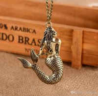 Wholesale mermaid jewelry free shipping for sale - Group buy Retro mermaid necklace spring long sweater chain fashion personality female accessories jewelry mermaid pendant
