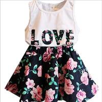 terno de saia de colete venda por atacado-infantil roupas de verão Meninas cartas de amor Flores mangas Vest + saia 2 peças epacket Suit