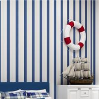papel pintado a rayas dormitorio al por mayor-Moda moderna Horizontal Blanco Azul Rayado Wallpaper Roll Vertical Niños Niño Para la pared Sala de estar Wallpaper Dormitorio