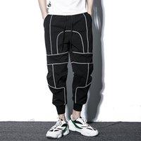 pantalones delgados de hip hop al por mayor-Hip Hop Harem Jogger Pantalones Hombres Streetwear Reflectantes hasta el tobillo Hombre Pantalones de chándal Estilo fino Primavera Verano Joggers Hombres