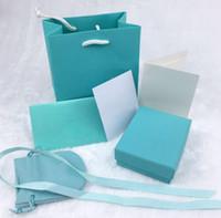 boks ring ışıkları toptan satış-Orijinal ambalaj kutusu 6 parça için açık yeşil takı seti kutusu kolye yüzük bilezik küpe hediye