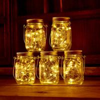 Wholesale screws waterproof for sale - Group buy Solar Powered LED Mason Jars Light Up Lid leds String Fairy Star Lights Screw on Lids for Mason Glass Jars Christmas Garden Lights