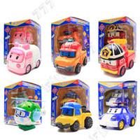 ingrosso i migliori bambini giocano le automobili-6 Styles Kid Toys Robocar Poli Robot di trasformazione Poli Amber Roy Car Toys Action Figure Giocattoli per i bambini Migliori regali