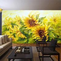 grande decoração de flores de papel venda por atacado-Grande mural 3d estéreo amarelo sol flor papel de parede simples floral fundo TV Parede papel de parede girassol home decor papel de parede