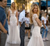 Wholesale sexy wedding dresses images for sale - 2019 Modern Sheer Bohemian Wedding Dresses Sexy Open Back Cap Sleeves See Through Plunging V Neck Appliques Summer Beach Bridal Gowns