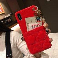 boa qualidade telefone casos venda por atacado-Mulheres de couro da marca shell com pingente de boa qualidade phone case para iphone 6 6 s 7 8 8 plus xr x tampa traseira shell para iphone x xr 7 plus case