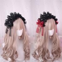 perle noire avec cheveux achat en gros de-Style japonais Gothique Lolita Bow Dentelle Chapeau À La Main Perle Chaîne Décorer Bandeau Accessoires De Cheveux Noir Rouge Bande De Cheveux