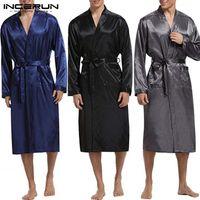 INCERUN Mens Robe Silk Satin Long Sleeve Autumn Long Bathrobe Lightweight Sleepwear Belt Pajamas Dressing Gown Kimono Hombre Y200429