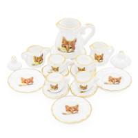 dollhouse çay seti toptan satış-Toptan 1:12 Minyatür 15 ADET Porselen Çay Bardağı Seti Kedi Desen Dollhouse Mutfak Aksesuarları
