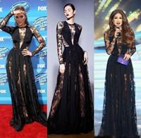 zuhair murad vestidos de noite pretos venda por atacado-Zuhair Murad Vestidos 2018 Preto Ilusão Mangas Compridas Vestidos de Noite Sheer Lace Vestidos de Noite Formais Vestidos de Celebridades do Tapete Vermelho
