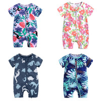 Wholesale zebra print baby clothes for sale - Group buy INS Baby Printed Rompers Colors Infant Rompers Floral Dinosaur Toddler Onesies Kids Casual Clothes Boys Cartoon Jumpsuits M T