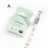 cinta adhesiva amarilla al por mayor-2016 Little Monster Adhesive Tapes Mini portátil verde y amarillo decorativo embellecimiento álbum diario suministros para estudiantes