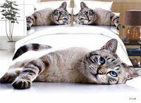 tierdruck flachblätter großhandel-3D Benutzerdefinierte Machen Gedruckt Tier Katze Flachbettlaken 4 stücke Queen Size Bettwäsche Set Klassische Luxus Baumwolle Bettbezug Set Bettwäsche