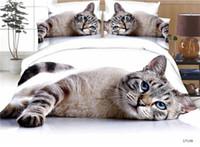 ingrosso fogli piani di stampa animale-3D Custom Make Stampato Animal Cat Flat Lenzuolo 4pcs Queen Size Bedding Set Classico Luxury Cotton Copripiumino Set Biancheria da letto