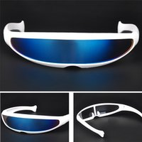 Wholesale funny eyewear for sale - Group buy Futuristic Narrow Cyclops Sunglasses UV400 Personality Mirrored Lens Costume Eyewear Glasses Funny Party Mask Decoration glasses
