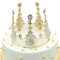 kristal düğün tarakları toptan satış-Düğün Gelin Kristal Tiara Taç Rhinestone Saç Combs Saç Takı Kristal Kraliçe Prenses Diadem Gelin Yuvarlak Taç Saç Takı