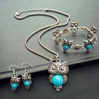 Wholesale pink owl jewelry resale online - earring bracelet necklace turquoise sets big green owl charm necklace jewelry sets