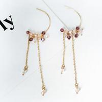 длинные серьги цепи для девочек оптовых-Easy Artificial Crystal Girls Gift Chain Tassel Beaded Long Drop Wedding C Shape Ear Hook Women Earring Elegant 1 Pair