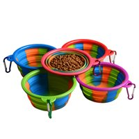 ganchos de comida al por mayor-Camuflaje Dog Bowl Con Gancho de Silicona Plegable Alimentadores de Alimentos para Mascotas Al Aire Libre Suministros para Perros Plegables en Venta 3 5gl E1