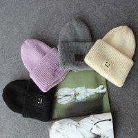han kapağı toptan satış-Han edition kare gülen yüz sopa etiket güzel kalın yün şapka Qiu dong kap kadın ve erkek sıcak şapka tutmak örme sevgiliydik