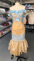 ropa formal para las mujeres de oro al por mayor-Sirena vestidos de dama de oro y azul de encaje apliques de Mujeres Africanas Ropa formal del partido del vestido manera más la Criada de los vestidos