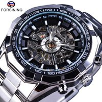 водостойкие серебряные часы оптовых-Forsining Silver 2019 из нержавеющей стали водонепроницаемые мужские часы Top Skeleton Brand Luxury Механические прозрачные мужские наручные часы
