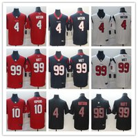 hopkins jersey venda por atacado-O mais novo ! Mens Houston # 4 Deshaun Watson Jersey 10 DeAndre Hopkins 99 J J. Watt Preto Impacto Limitado Jersey Futebol S-3XL