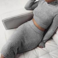 trajes de falda para mujer al por mayor-Set (2 unidades) Otoño vendaje de las mujeres Traje de manga larga Fleece Top Crop lápiz falda de Midi Vestido ajustado sólido suéter Mujer chándal S-XL