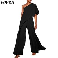 ingrosso abbigliamento pantaloni donna-Sexy Pagliaccetti Womens Tute 2019 Vonda Fashion Off Shoulder Ruffle Pantaloni larghi Gambe lunghe Playshits Tuta Tuta Y19062201
