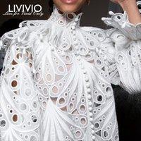 boyun modası toptan satış-[LIVIVIO] Vintage Hollow Out Dantel Fırfırlı Gömlek Kadın Standı Boyun Flare Uzun Kollu Düzensiz Bluz Kadınlar Moda Giyim Yeni