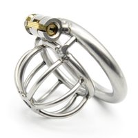 Wholesale locking stainless steel bondage restraints for sale - Group buy Male Chastity Devices Stainless Steel Cock Cage For Men Chastity Belt Metal Penis Sex Toys Cock Lock Adult Bondage Restraints Y19061202
