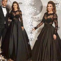 veja através de vestes de renda venda por atacado-Black Lace Mancha Prom Vestidos Formais 2020 Illusion manga comprida ver através Árabe Robes De Soiree celebridade Vestido Partido