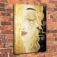 Wholesale framed art deco painting resale online - Gustav Klimt Freya s Tears Oil Painting Art Deco Modern Woman Painting on Canvas